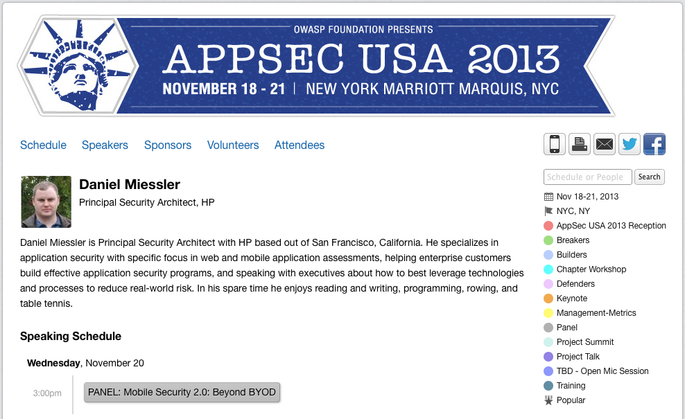 Speaking at OWASP AppSec 2013