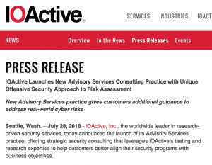 IOActive Launches Advisory Services Practice