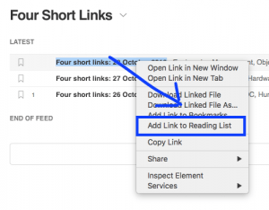 Collecting Links Into Your Reading List Using Safari