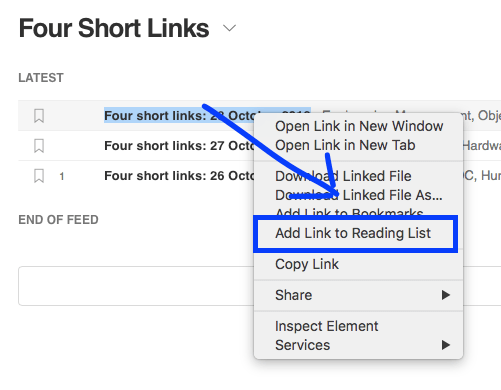 , Collecting Links Into Your Reading List Using Safari