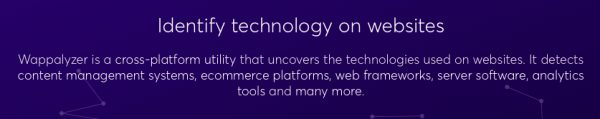 , Seeing a Site's Technology Stack Using Wappalyzer