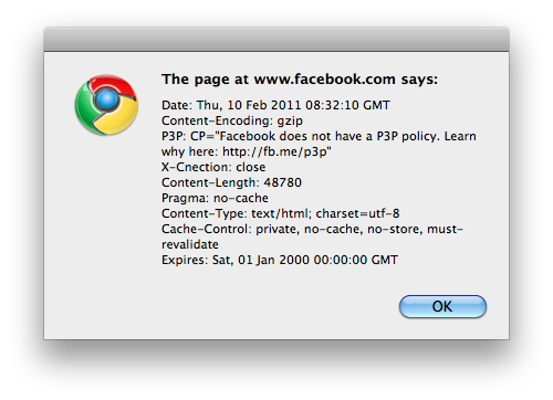 Facebook HTTP Headers: No P3P Aqui