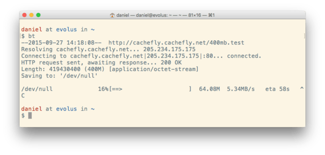 A One-line CLI Bandwidth Test