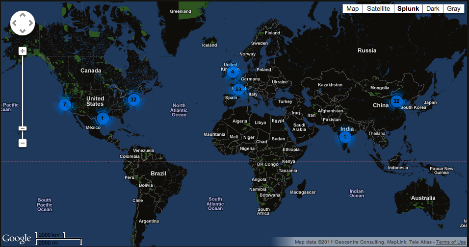 Visualizing Interesting Log Events Using Splunk's Google Maps Application