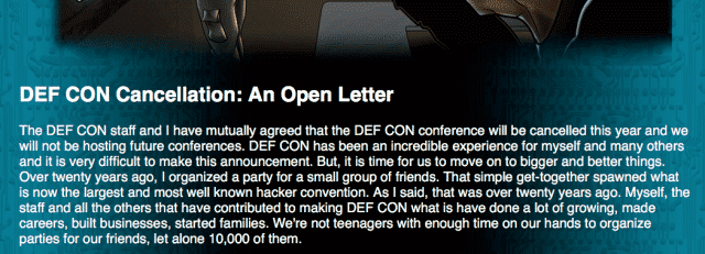 , My Thoughts on the DEFCON Cancellation Meme