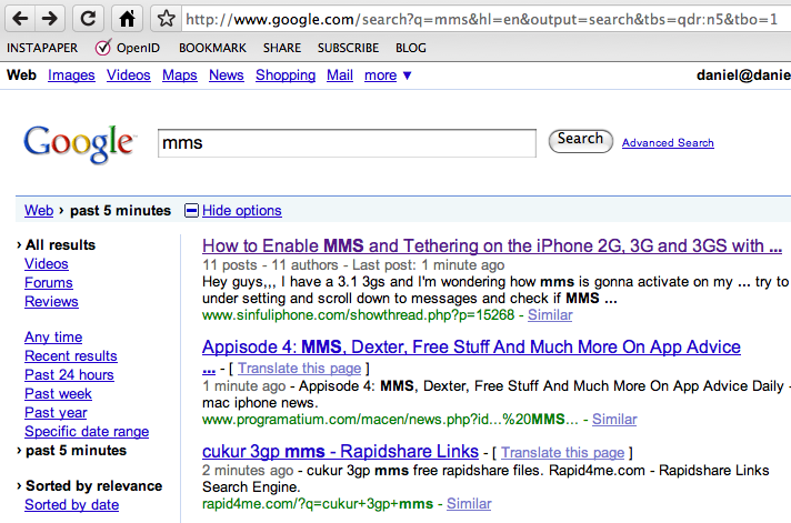 , Realtime Search with Google