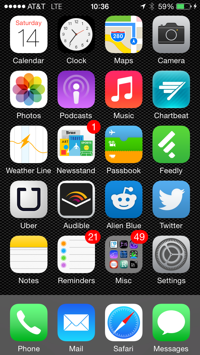 Anatomy of a Single Page iPhone Homescreen