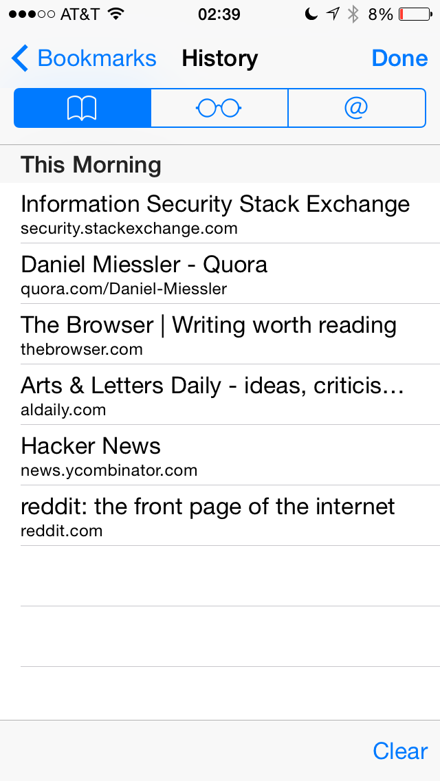 ", Safari's ""Clear History and Website Data"" Not Working in iOS 8 Beta 2"