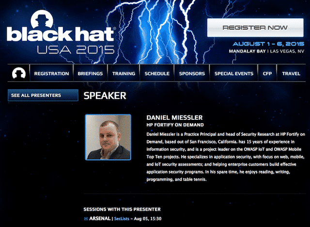 Speaking at BlackHat Arsenal