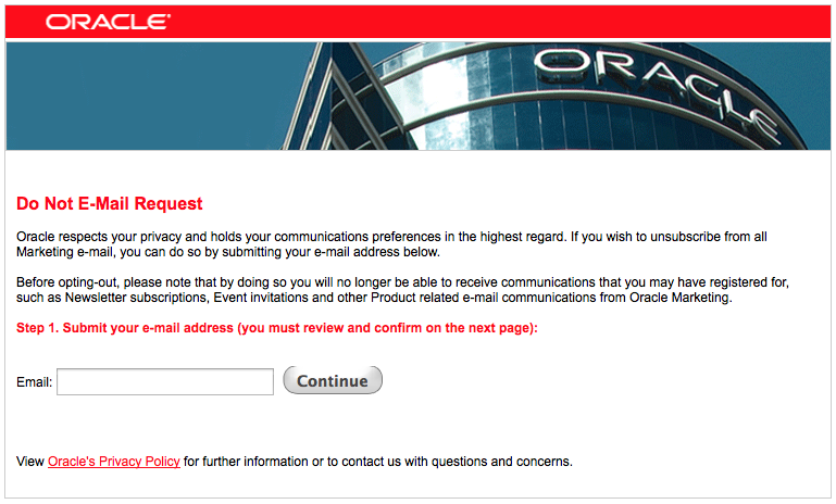 Oracle Spam