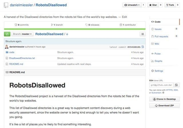 RobotsDisallowed: Find Content People Don't Want You to See