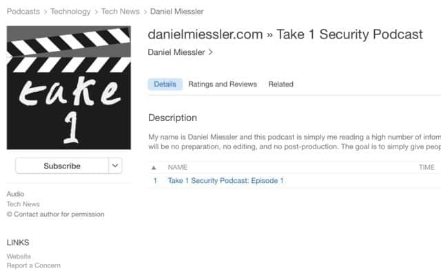 , Take 1 Security Podcast: Episode 3