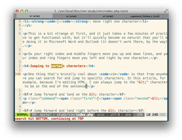 vim, Learn <code></noscript>vim</code> For the Last Time: A Tutorial and Primer