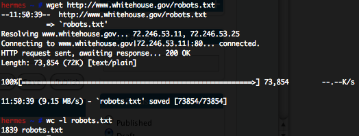 The Whitehouse.gov Website's Robots.txt File Has 1839 Lines In It